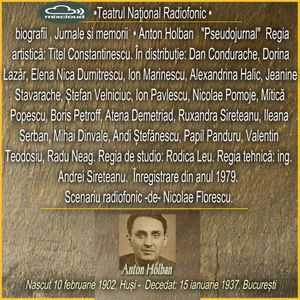 Pseudojurnal de Anton Holban teatru biografii memorii (1979)